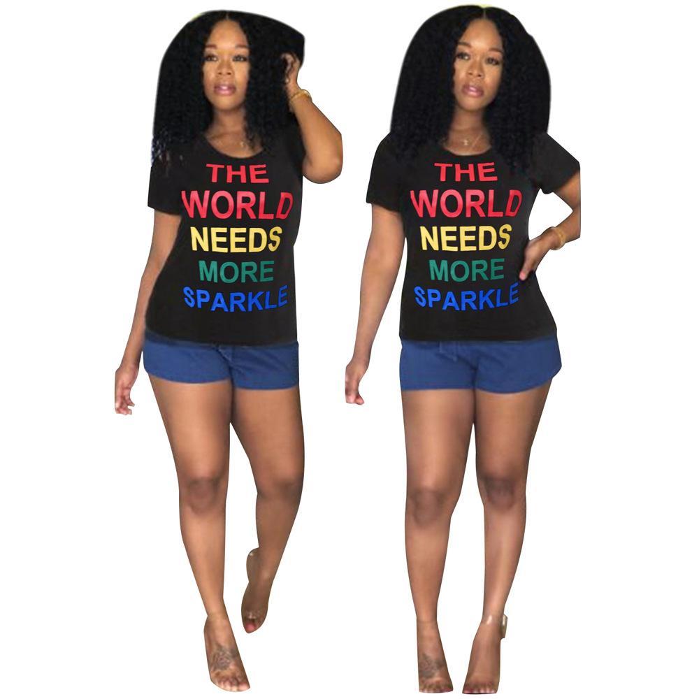 82aada3bcfde Women T-shirts New Fashion Women's Letter Print T-shirts Casual Sexy ...