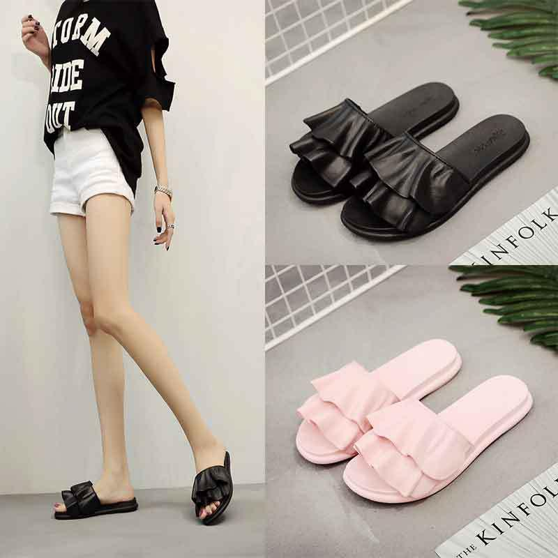 797fd1ca903 Summer New Wild Bathroom Korean Slippers Female Fold Flip Flops Casual Home  Shoes Lotus Leaf Sandals Women Womens Sandals Walking Boots From Pinkvvv