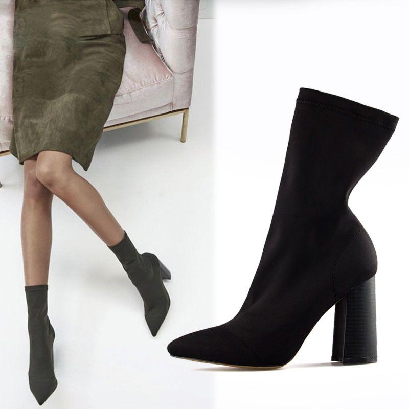 femmes Bottes Femme cheville à talons Chaussettes Femme orteil pour épais Bottes Chaussures hauts Fil Chaussures de Talon Bottes élastiques pointé j4L5AR