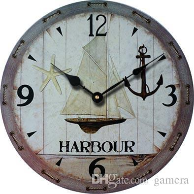 Wholesale- 2016 Vintage Antique Wooden Wall Clock Modern Design Large  Decorative Wall Clocks Cheap Sail Anchor Clock Home Decor