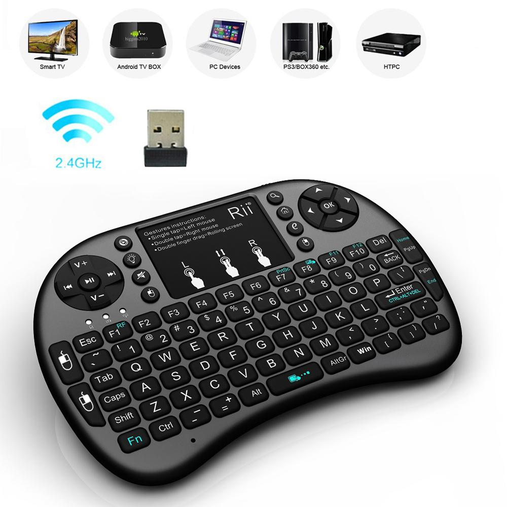 d23e8697017 rii Rii i8+ Mini 2.4Ghz Wireless Backlight Keyboard Gaming With Touchpad  For Google Android Smart TV Box IPTV HTPC PS3 Pad