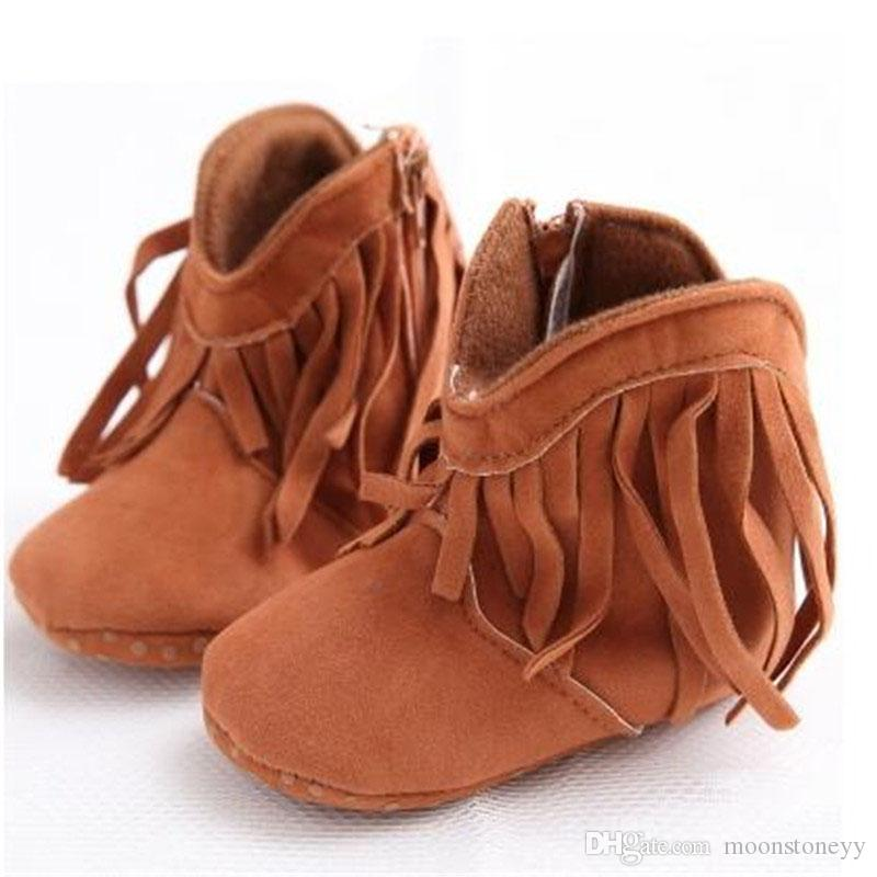Baby Cotton Cloth Tassels Boots Anti-slip Zipper High Ankle Boots Toddler Shoes Round Toe Pink Sneakers For Baby Girl