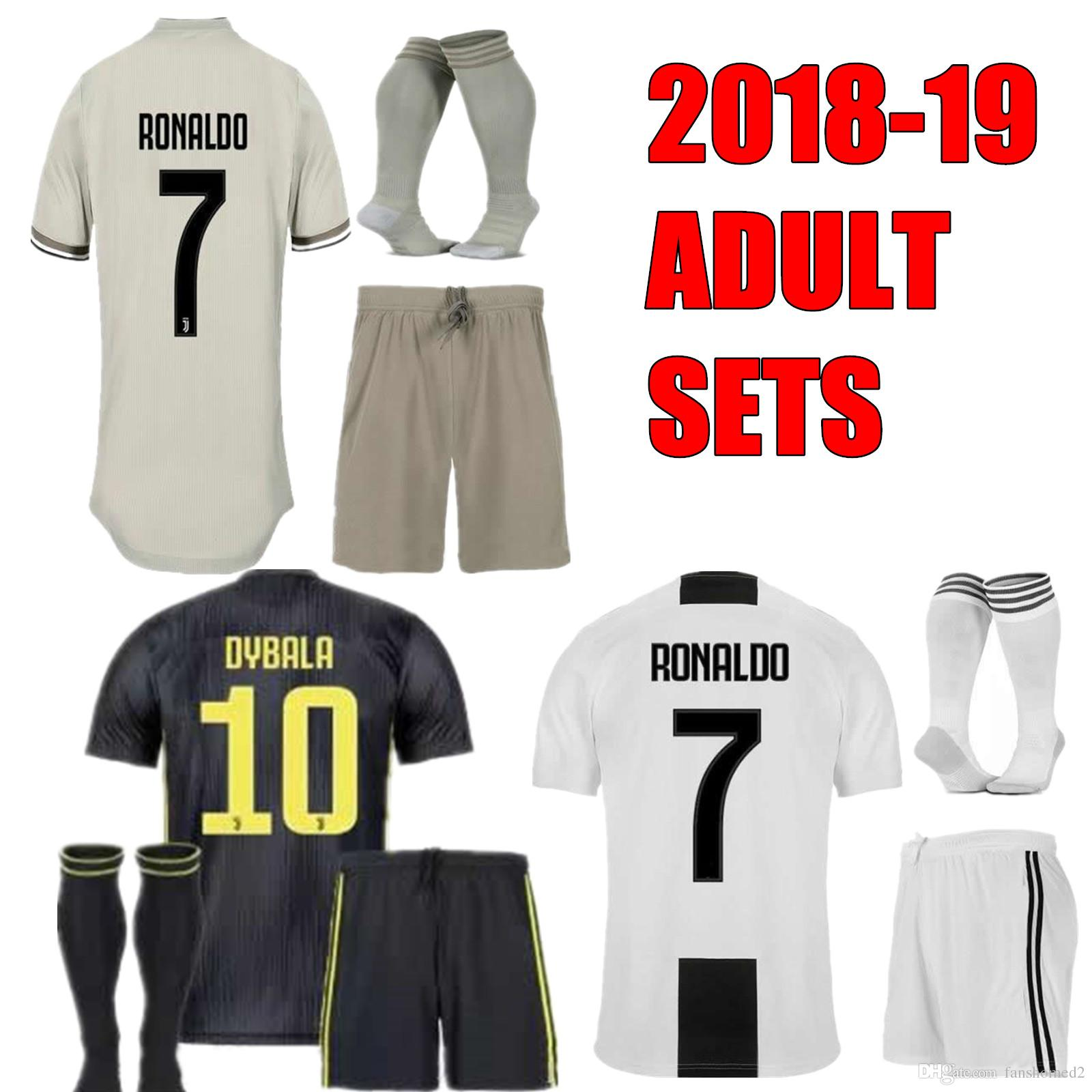 3f53dc747a4 2019 2018 19 Men Kit JUV DYBALA 10 Ronaldo  7 Soccer Jersey Home Away Gold  Third HIGUAIN Uniform MARCHISIO KHEDIRA Football Adults Kits Set From  Fanshomed2