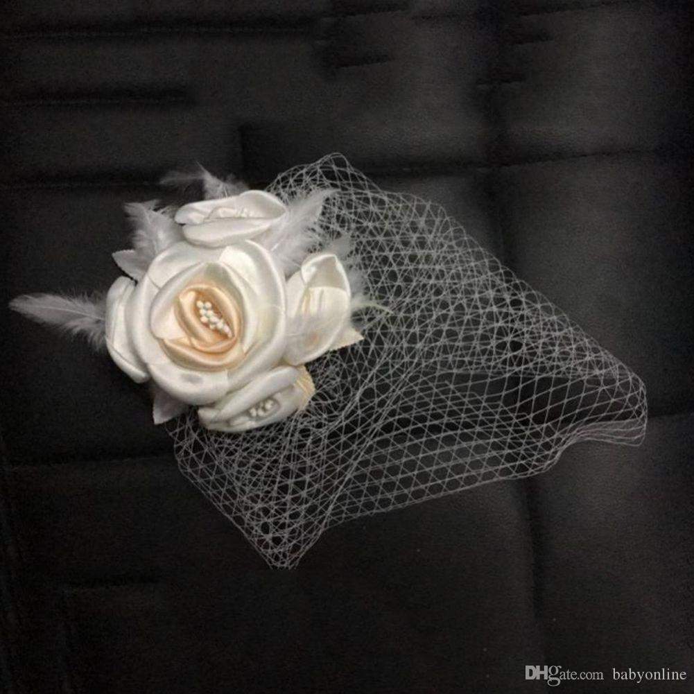 Véus de casamento de cara de gaiola de malha clássico Véus de noiva véu de rede curta coberta com pente CPA840