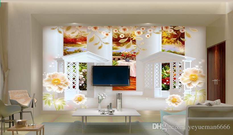 Columna romana europea papel tapiz mural 3d Gazebo pintura al óleo papel tapiz de fondo para sala de estar dormitorio
