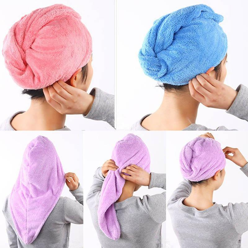 1pc Ladies Bathroom Hair Drying Cap Super Water-absorbent Microfiber Hair Towel Makeup Cosmetics Bath Cap For Women Ponytail Hat Home Improvement
