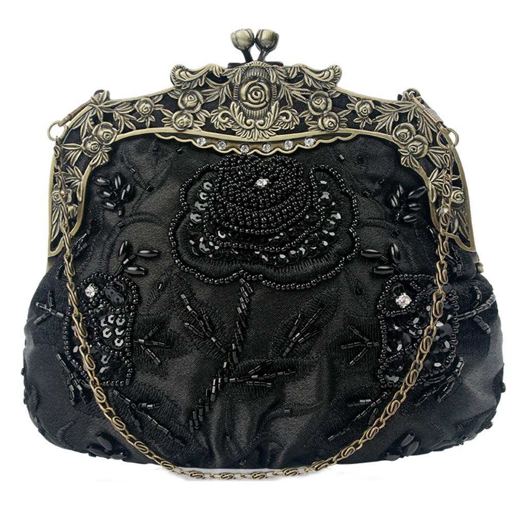 Folk Women Retro Beaded Embroidery Clip Wristlet Evening Purse Top Bag Handle Handbag Girl Wedding Dinner Clutch Large Handbags Black Leather From