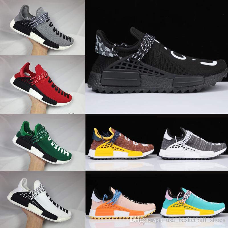 Wholesale Human Race Pharrell Williams Hu Trail NERD Men Womens Running Shoes White Noble Ink Core Black Red Sports Shoes Sneaker 36-45 low shipping fee cheap online h2CMCE