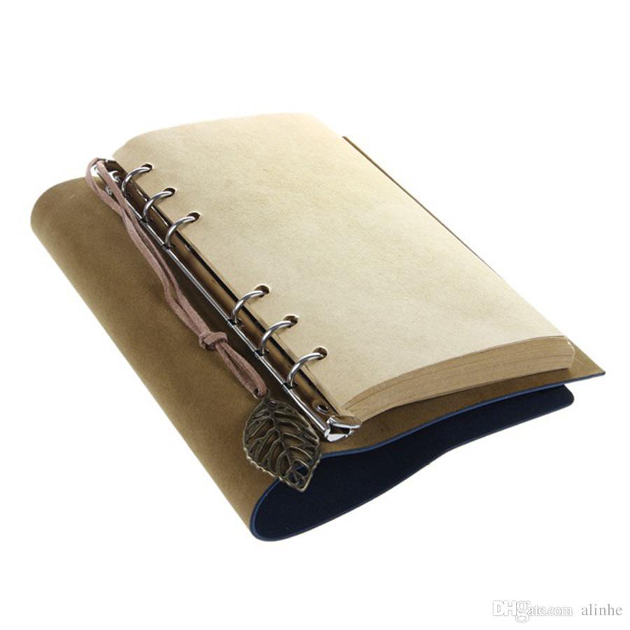 Sketchbook Papeterie Agenda Vintage Journal Journal Notebook Écriture Poches Livre Feuille En Cuir Couverture Lâche Blanc Voyage Journal Cadeau Livraison Gratuite