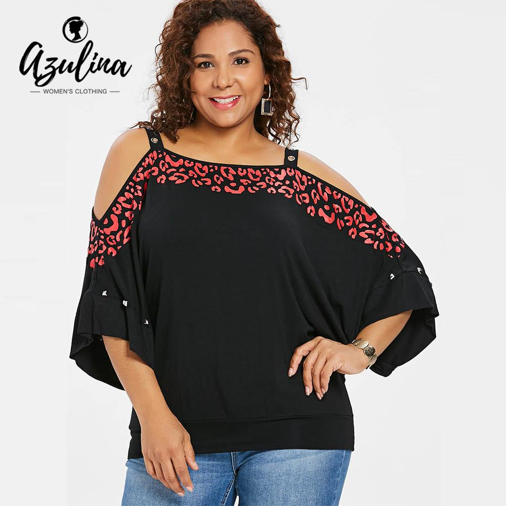 130d693f872d0 AZULINA Plus Size Print Grommet Cold Shoulder Dolman Sleeve T Shirt Women T  Shirt Summer Square Neck Rivet Ladies Tops Clothing Purchase T Shirt Crazy  Tee ...