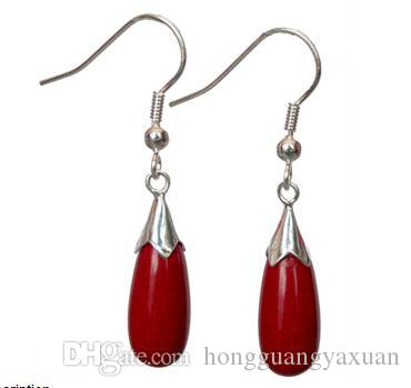 New Fashion Women/'s Natural Red Coral 925 Sterling Silver Hook Dangle Earrings