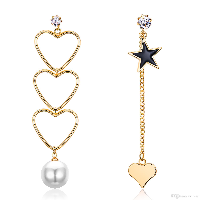 2018 Classic Silver Gold Heart Star Asymmetry Earrings Pearl Link
