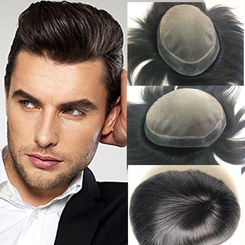 Satın Al Erkek Peruk Remy Insan Saç Doğal Siyah Renk 6 8 Inç