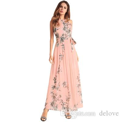 bad9aba85ec European and American 2018 spring plus-size women's new chiffon frock dress  skirt hot style printed skirt