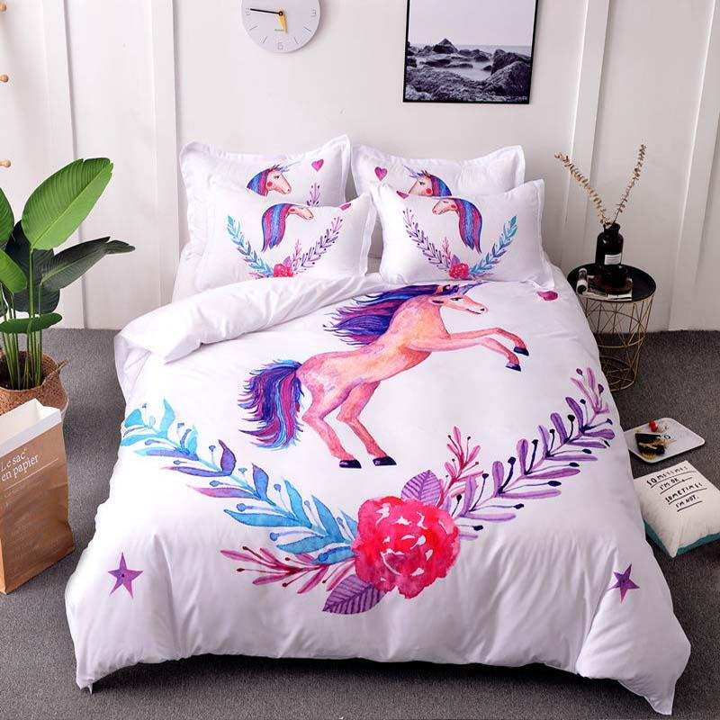 036ed437d223 Lannidaa New Arrivals Cute Unicorn Bedding Set Cartoon Duvet Cover Twin  Full Queen King Size Bedclothes Twin Comforter Cover Bedspread Set From  Kyouny