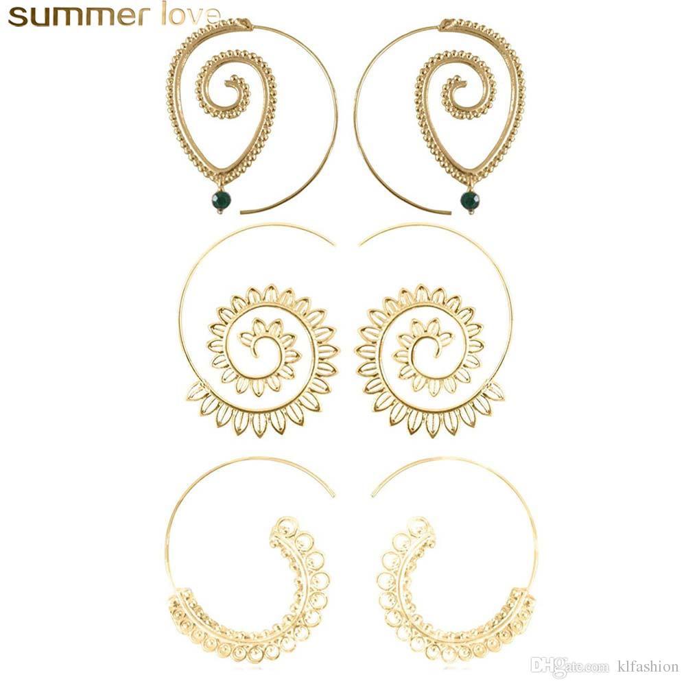 1ac500f2f9 Unique design 3 Pair/Set Spiral Hoop Earrings Set For Women Big Vintage  Tribal Swirl Dangle Earrings Decorative Jewelry Set