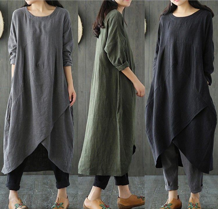 d579a36b805 2018 Spring   Autumn Women Long Sleeves Cotton Linen Dress Plus Size ...