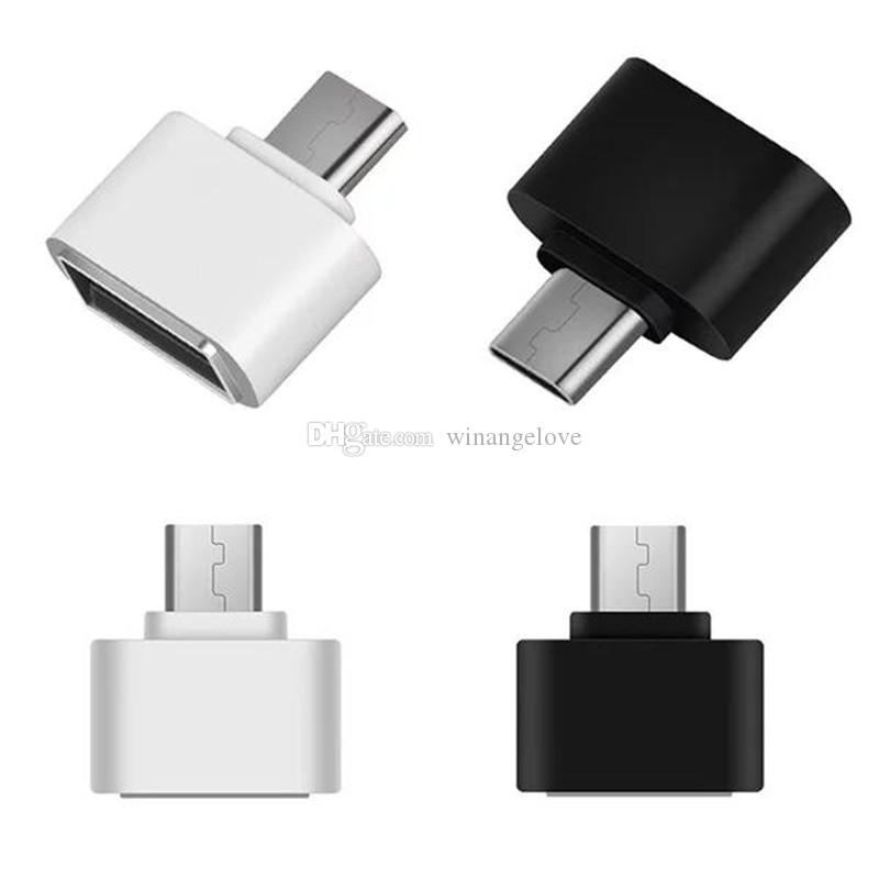 Micro USB To USB 2.0 OTG Adapter for All Android Tablets and Smart Phones white black