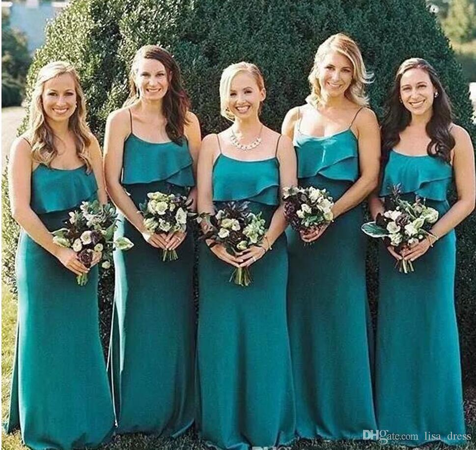 2018 simple elegant country long bridesmaids dresses sexy straps 2018 simple elegant country long bridesmaids dresses sexy straps spaghetti sheath a line chiffon maid of honor wedding guest dresses different bridesmaid ombrellifo Image collections