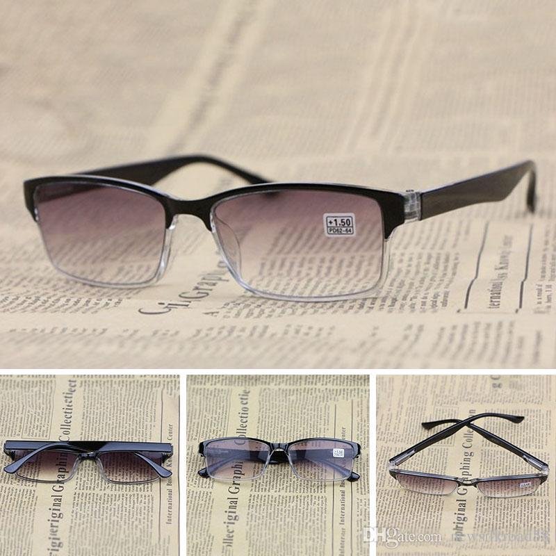 d7be3f01ac1 Fashion Gradient Lens Sun Reading Glasses Unisex Eyeglasses Half Frame HD  Resin Lens Glasses Presbyopic Anti Fatigue Ultraviolet Proof Small Round  Reading ...