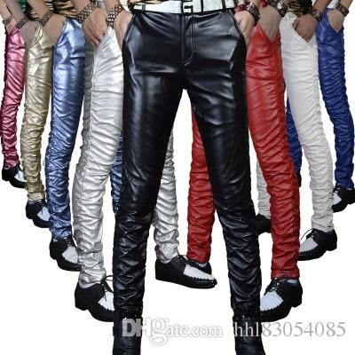 5611e0cac89b35 2019 Leather Trousers Men 2018 Mens Pants Leather Fashion High Quality PU  Material Zipper Skinny Faux Leather Pants For Men From Hhl83054085, ...