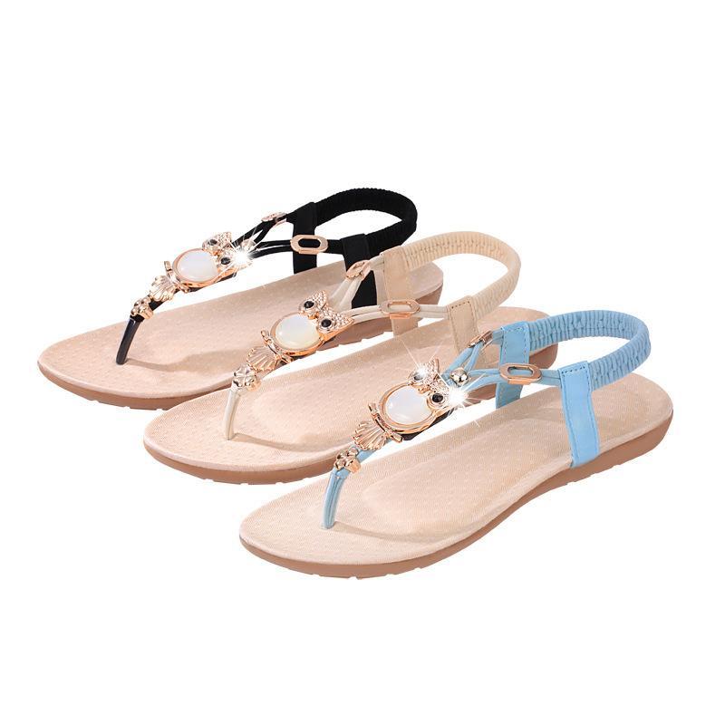40d635b6e8aa Rhinestone Owl Pearl Gladiator Women Sandals Shoes Elastic Band Clip Toe  Shoes Ethnic Wind Sandals Flip Flops Female Footwear Flat Sandalias  Saltwater ...