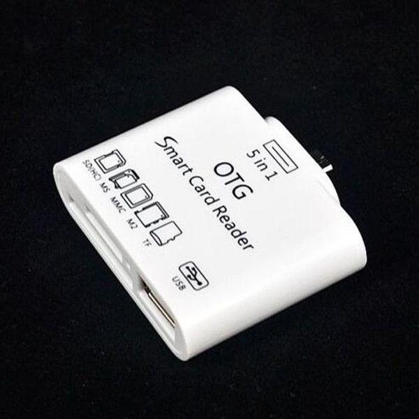 Lector de tarjetas inteligentes 5 en 1 OTG + Kit de conexión USB2.0 Lector de tarjetas de memoria inteligente SD MMC OTG para Samsung Note Galaxy S3 / S4 i9500 NOTA 2 N7100
