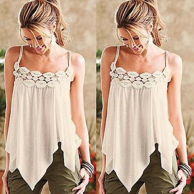 82f5c30f2f8e37 Hot Women s Top White Sleeveless Summer Beautiful Lace Tops Vest Camis