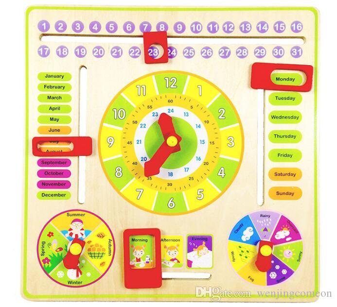 Kids Wooden Puzzle Toys Cognitive Digital Clock Digital Wooden Watch Jigsaw Toys Cartoon Threading Assembly Toys