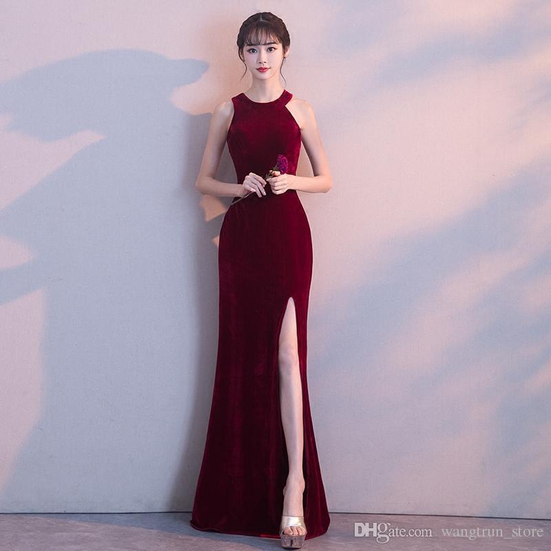 b711f15f9 Compre Simple Diseño De Terciopelo Rojo Vino Sexy Vestido De Noche Vestido  De Fiesta Vestidos Festa Side Split O Cuello Vestidos Formales Largos Nuevo  A ...
