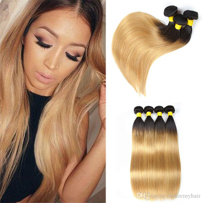 Malaysian Ombre Human Hair Weave 3/4 Bundles Cheap T1B/27 Dark Root Blonde Straight Two Tone Colored Malaysian Virgin Hair Vendors