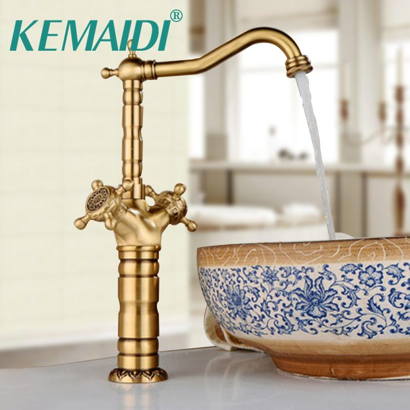 Terrific Kemaidi Antique Brass Bathroom Faucet Ceramic Waterfall Shortlong Brass Basin Faucet Lavatory Combine Set Mixer Tap Best Image Libraries Ponolprimenicaraguapropertycom