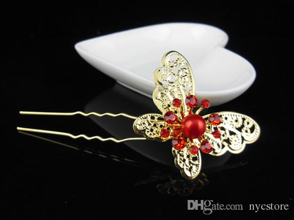 elegant gold silver butterfly wedding hairpins bridal hair jewelry accessory