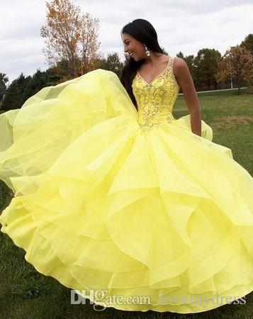 6c4f7b171be Fashion Yellow V Neck Quinceanera Prom Dresses Ruffles Organza Crystal  Beaded Ball Gown Sweet 16 Dress Formal Gowns Beading Peaches Quinceanera  Dresses ...
