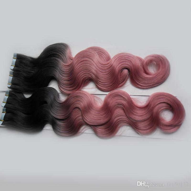 T1B / Pink Color Tape Em Extensões de Cabelo Humano Máquina Feita Remy Brasileira Onda Do Corpo Do Cabelo 200G 80 Peças Extensões de Cabelo Trama Da Pele Ombre