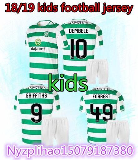 c3d63eaf1 Kids Set 2018 2019 Scotland Celtic Soccer Jersey 18 19 Home Away DEMBELE  GRIFFITHS LUSTIG BROWN Youth Child Kits Shirt. Soccer Set 10 DEMBELE  Football ...