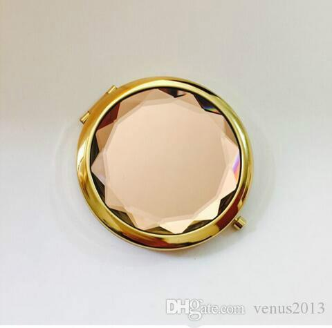 Regali pubblicitari Oro cristallo Bellezza trucco specchi pieghevoli Doppio lato borsa tasca dorata borsa da viaggio Specchio compatto 200 pezzi