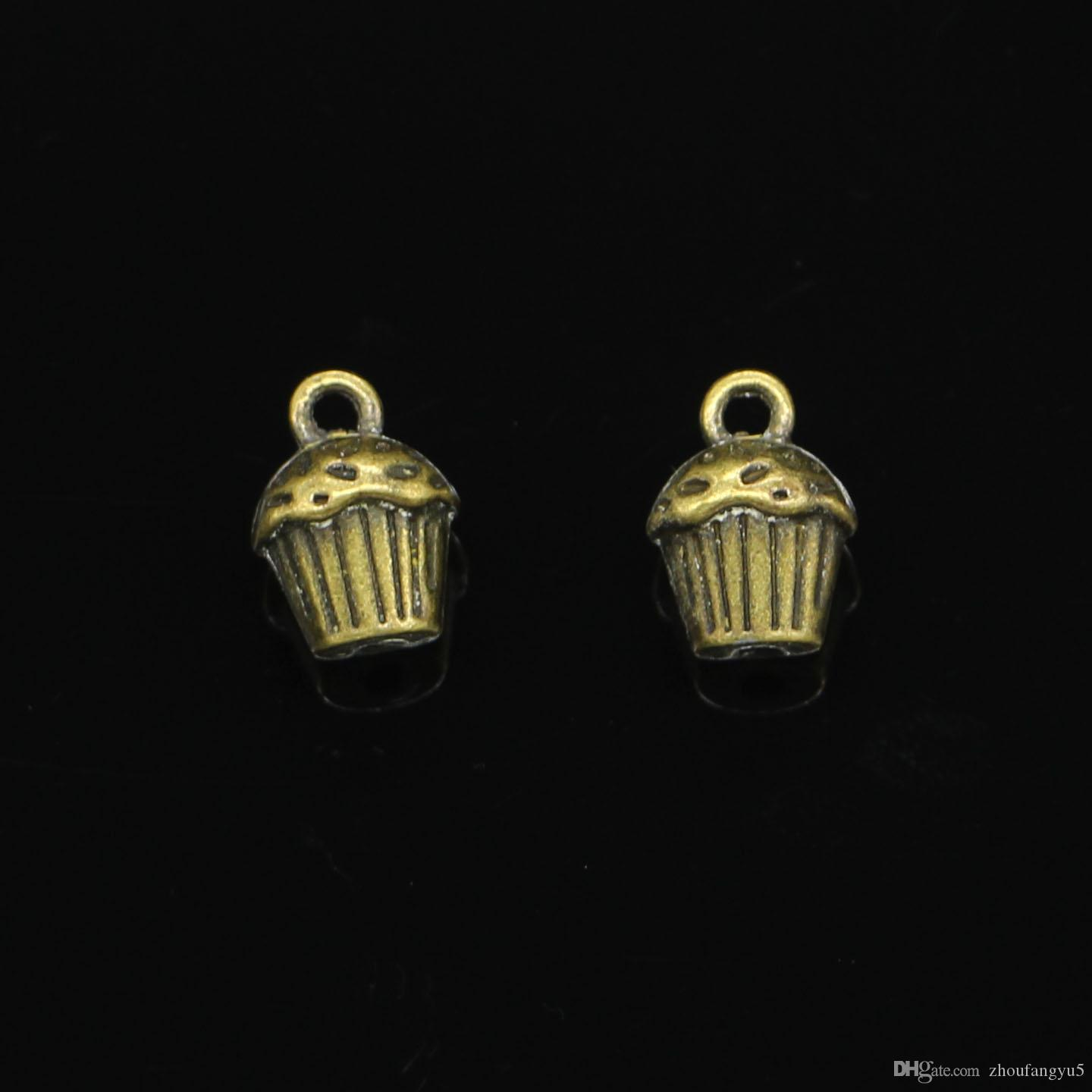 50pcs Zinc Alloy Charms Antique Bronze Plated 3D cupcake cake Charms for Jewelry Making DIY Handmade Pendants 13*10*8mm