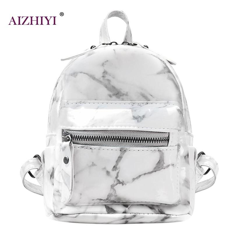 8e80c89d4822 Women Fashion Punk Style Marble Backpacks Creative Girls PU Leather Zipper  Casual Shoulder School Bag Female Travel Bag Portable Mens Backpacks Swiss  Army ...