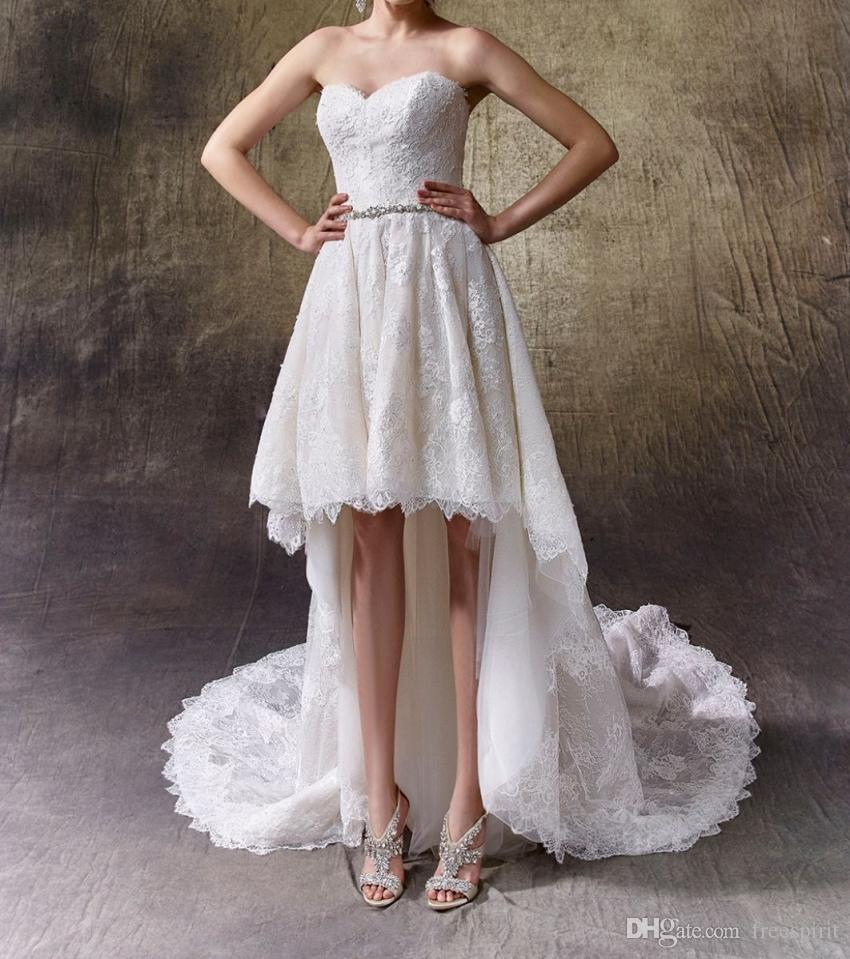 041b24b6dade8 Wedding Dress Short Front Long Back Ivory Sweetheart Crystal Belt Knee  Length Skirt Modern High-Low Lace Gown for Bride
