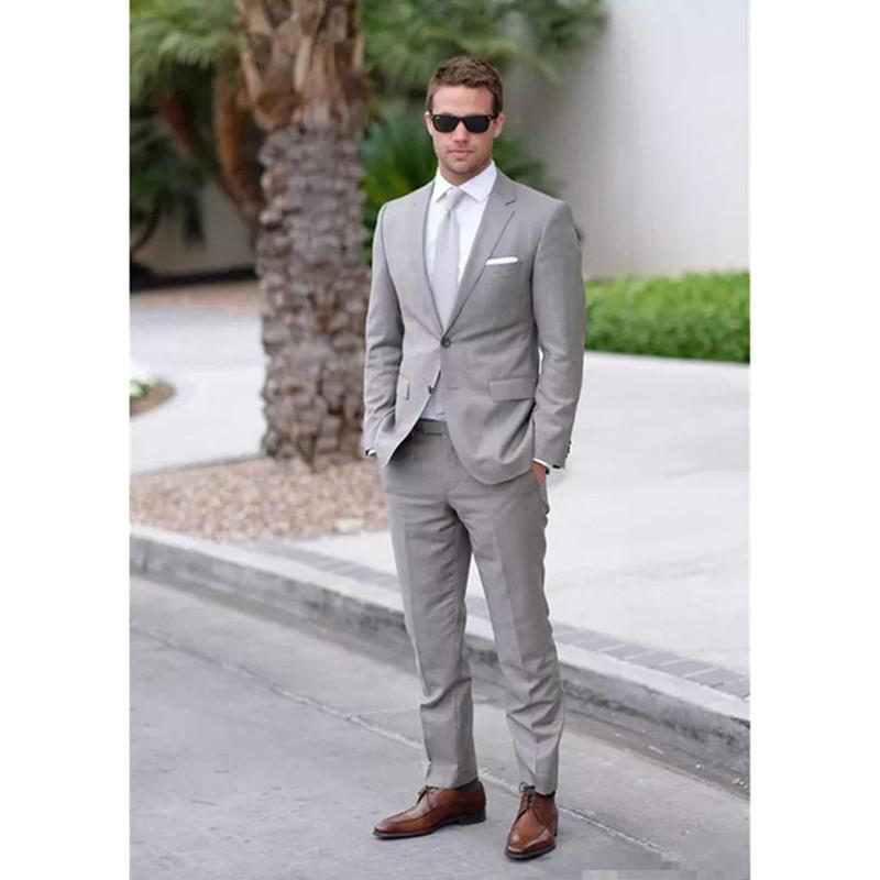 d6f04576e6 Champagne Mens Suits Stylish Grooms Men Beach Wedding Tuxedo Custom Terno  Masculino (Jacket+Pants) Men's Prom Party Suit Blazer