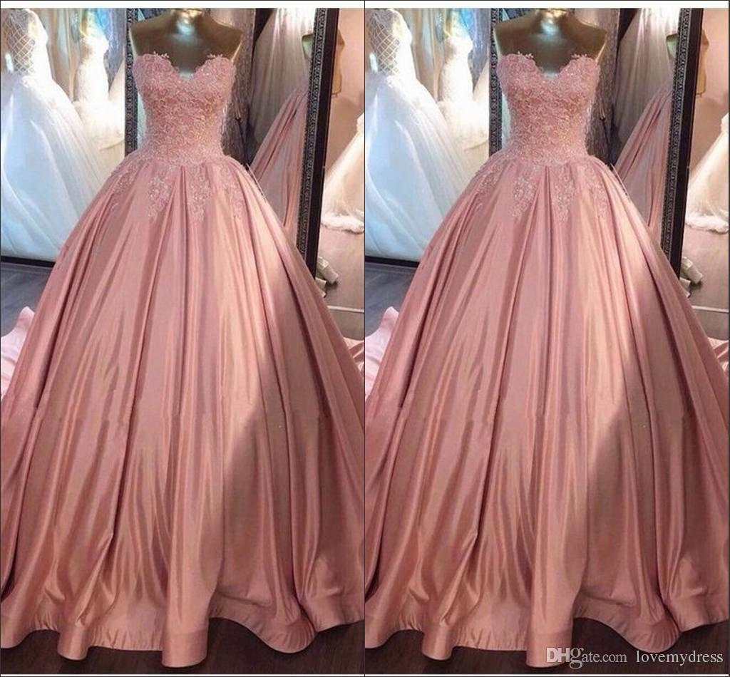 Blush Pink Lace Beaded Prom Dresses Ball Gowns Strapless Open Back