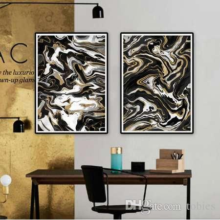 Black And White Gold Nordic Poster Modern Home Decor Wall Canvas Art Abstract Print Pictures For Living Room Painting Original
