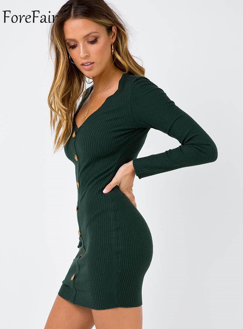 Forefair Front Button Long Sleeve Elastic Dress Women Autumn Sexy Bodycon Dress Black Khaki Green Women Winter Dress Knitted