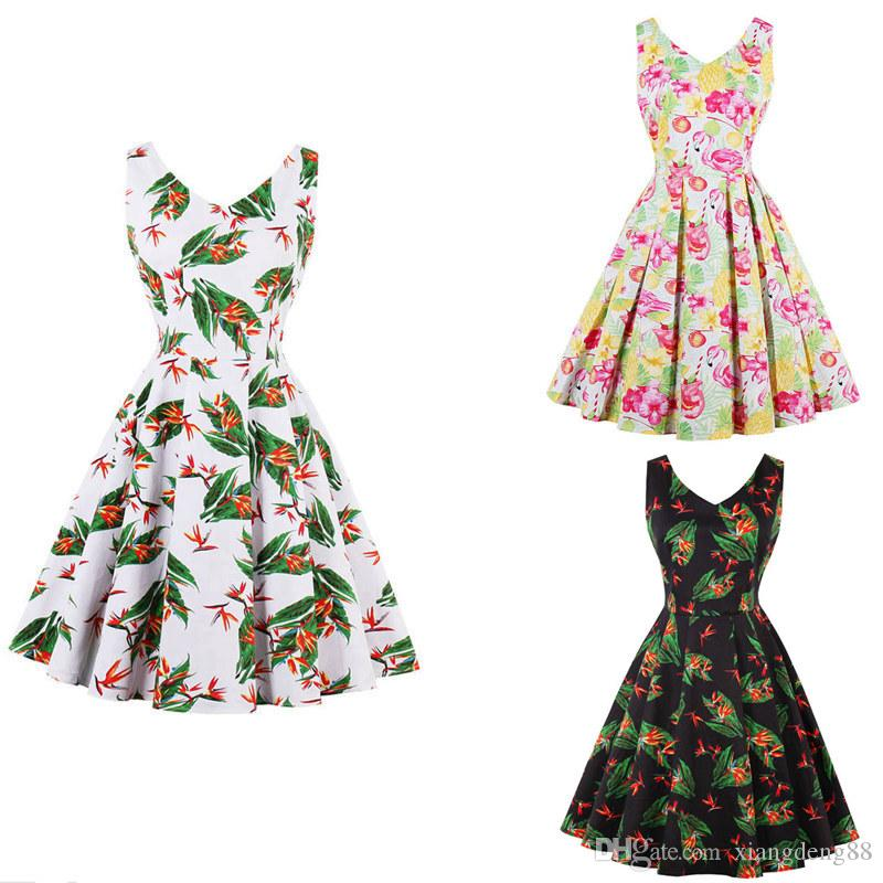 380ff52b82886 Elegant Womens Floral Printed Sleeveless V-Neck Dress 50s 60s Hepburn  Vintage Retro Evening Party Dress Summer Sundress Hot Sale