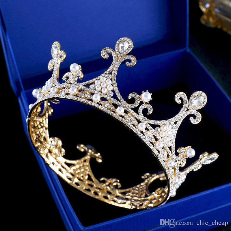Perle da sposa Perle d'oro Regina Corona strass Accessorio capelli Diadema Copricapo Novità matrimonio