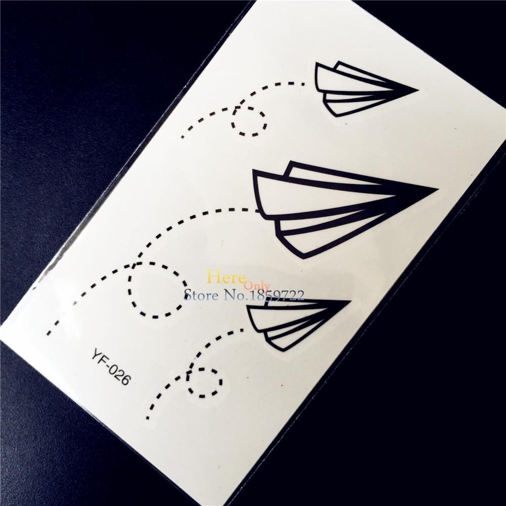 Papier Flugzeuge Designs Gefälschte Wasserdichte Temporäre Tätowierung Kinder Geschenke Schule Tattoo Aufkleber 105x6 Cm Nette Schwarze