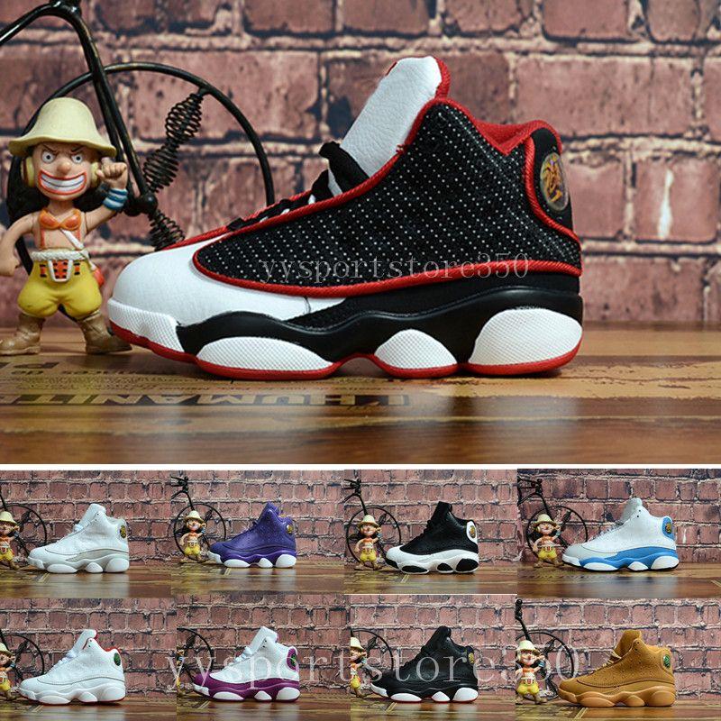 competitive price d6e65 43b8b Großhandel Nike Air Jordan 13 Aj13 Retro Jungen Mädchen 13 Kinder  Basketball Schuhe Kinder 13s 13 14 Dmp Pack Playoff Sportschuhe Kleinkinder  ...