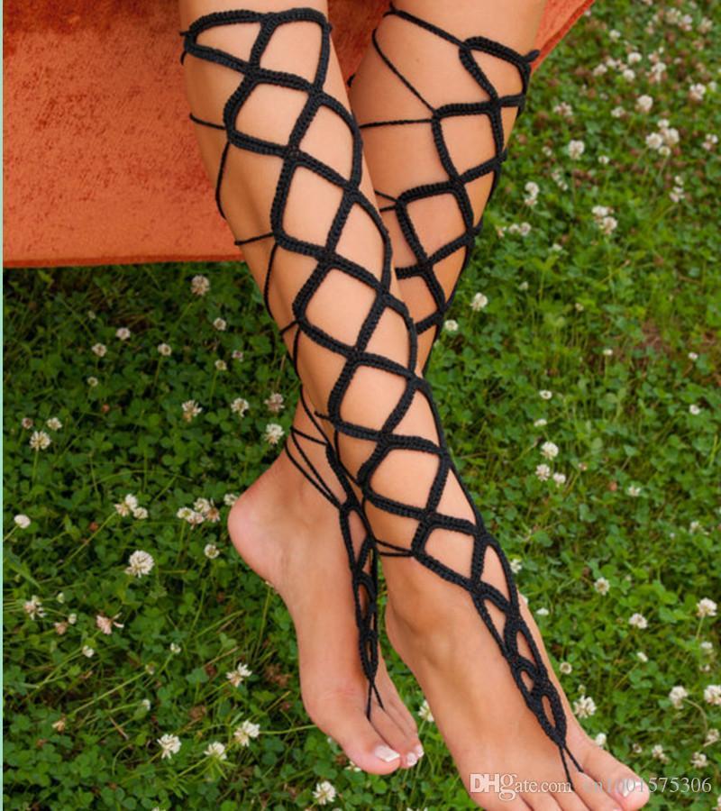 Sandalias descalzos estilo gladiador para mujer, calentadores de pierna sexy Crochet Accesorio de moda, ganchillo negro Sandalia descalzo con cordones ..