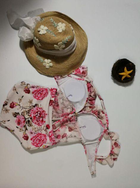 2018 nuevas mangas del viento del país tinta impresa traje de baño correa de encaje bikini traje de baño